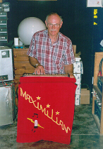 Max playing the Musitron in his home studio in 2001